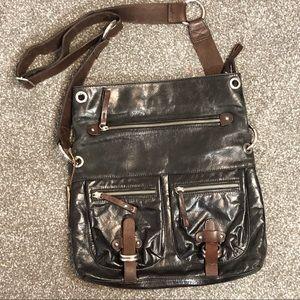 Tano leather black brown crossbody distressed bag